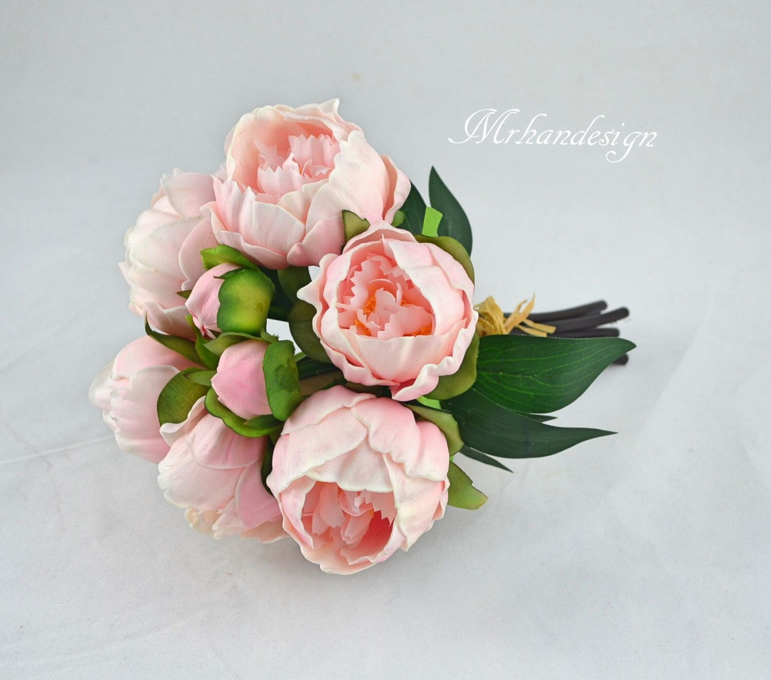 Pink Peony Bundles Real Touch Flowers Silk Peony Bridal Bouquets ...