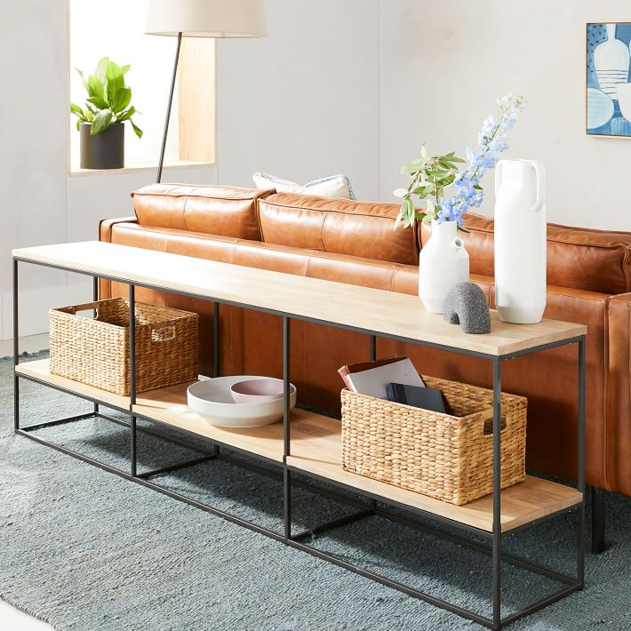 Streamline Media Console Wood In 2020 Sofa Table Decor Table Behind Couch Behind Sofa Table