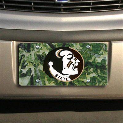Florida State Seminole Mirrored Car Tag FSU Noles Camo Camouflage License Plate
