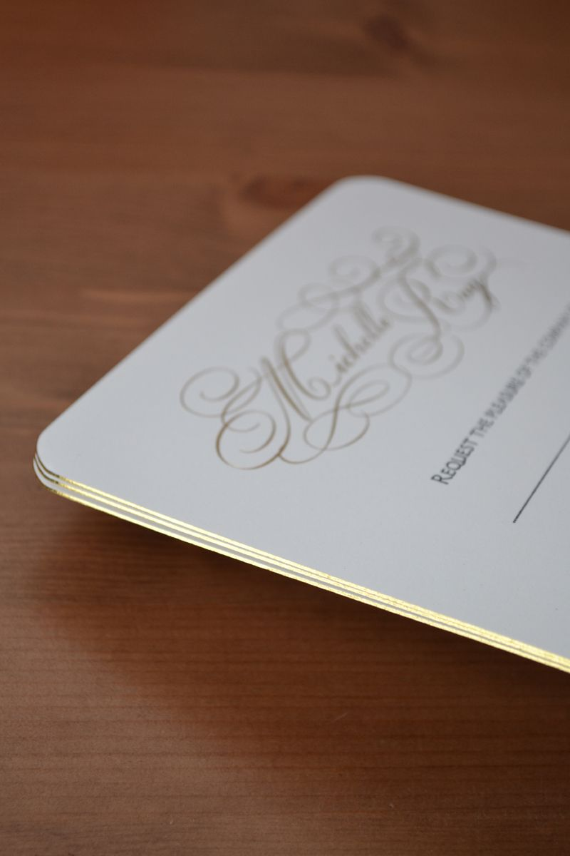 blank wedding invitations%0A Wedding invitation gold foil printed  with gold gilt edge  u     round corners