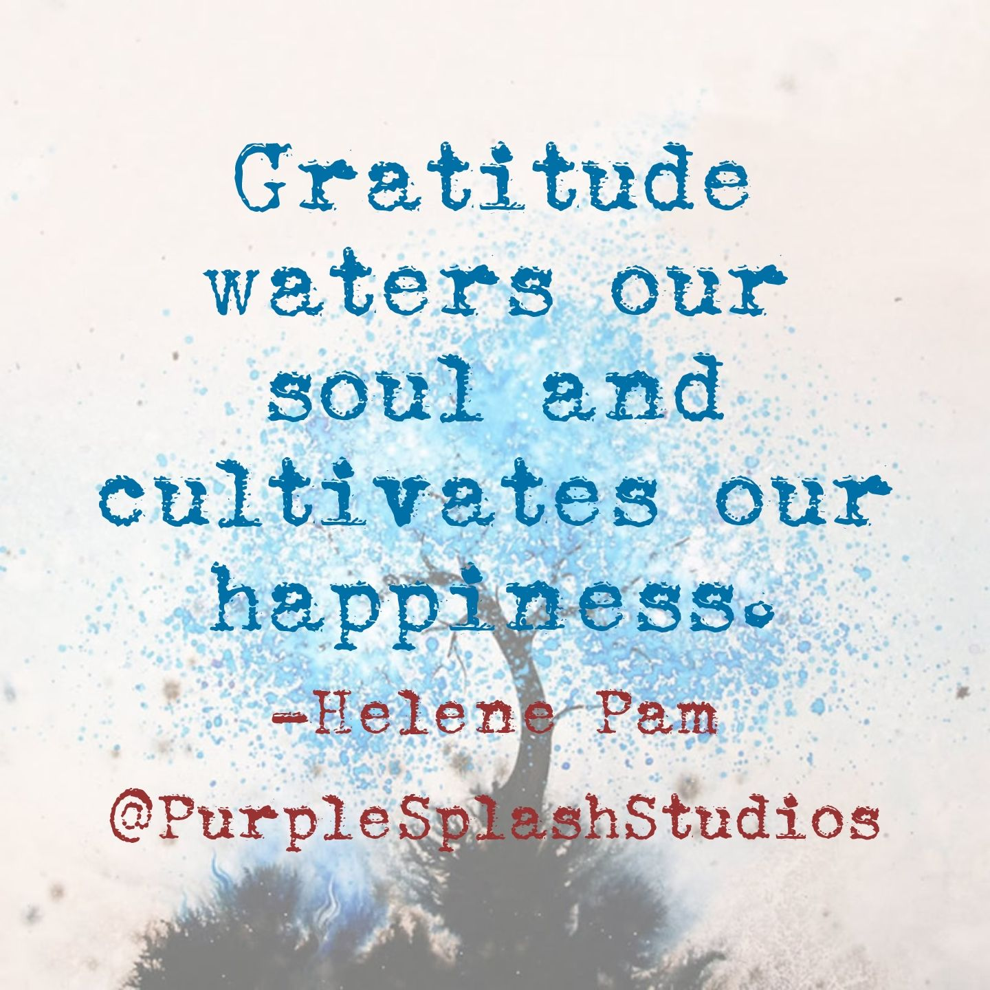 Gratitude waters our soul and cultivates our happiness