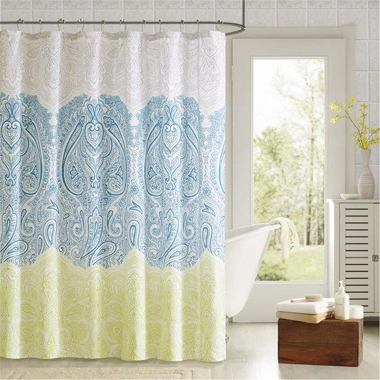 teal and yellow shower curtain. Designer Living  Naomi Printed Shower Curtain and Hook Set 90 by Design Lab living Green