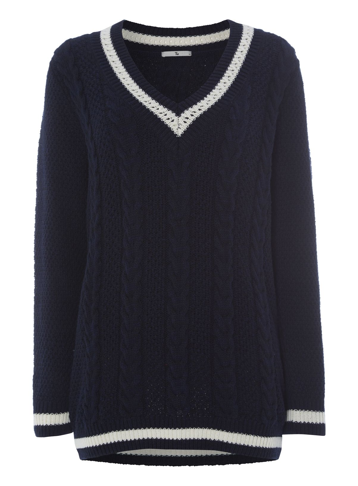 Womens Navy Cable Knit Cricket Jumper | Tu clothing | Handbags and ...