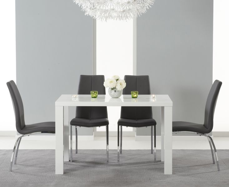 Atlanta 120Cm White High Gloss Dining Table With Cavello Grey Prepossessing High Gloss Dining Room Furniture Inspiration Design