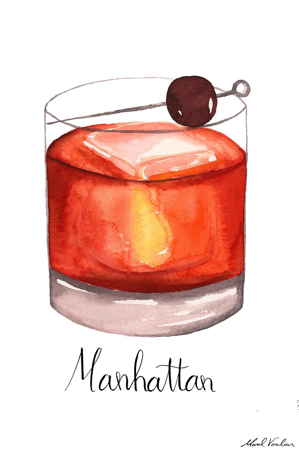 Manhattan Cocktail Illustration Maral Varolian Cocktail Illustration Bar Artwork Wine Design