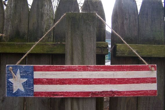 Primitive American Flag Sign Hand Painted Wood by PlanetRefunk