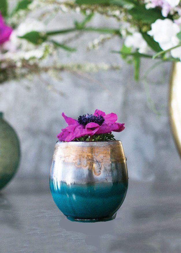 Small Modani Ceramic Flower Pot In Blue And Gold Br 3 5 X 3 5 Ceramic Flower Pots Flower Pots Floral Container