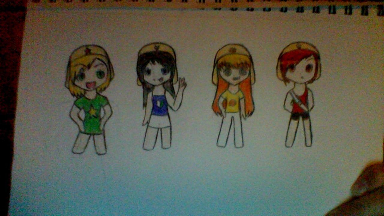 I drew the sgt frog gang as human girls genderbender