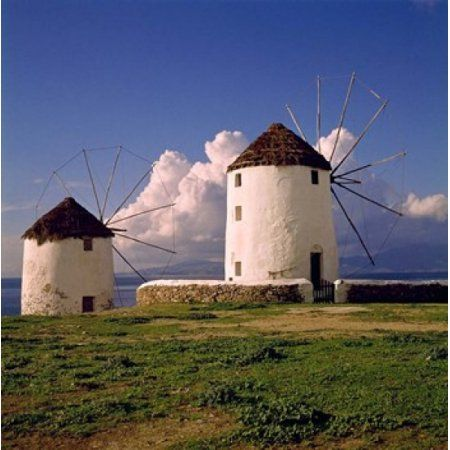 Greece Mykonos White-washed Windmills Canvas Art - Ric Ergenbright DanitaDelimont (34 x 35)