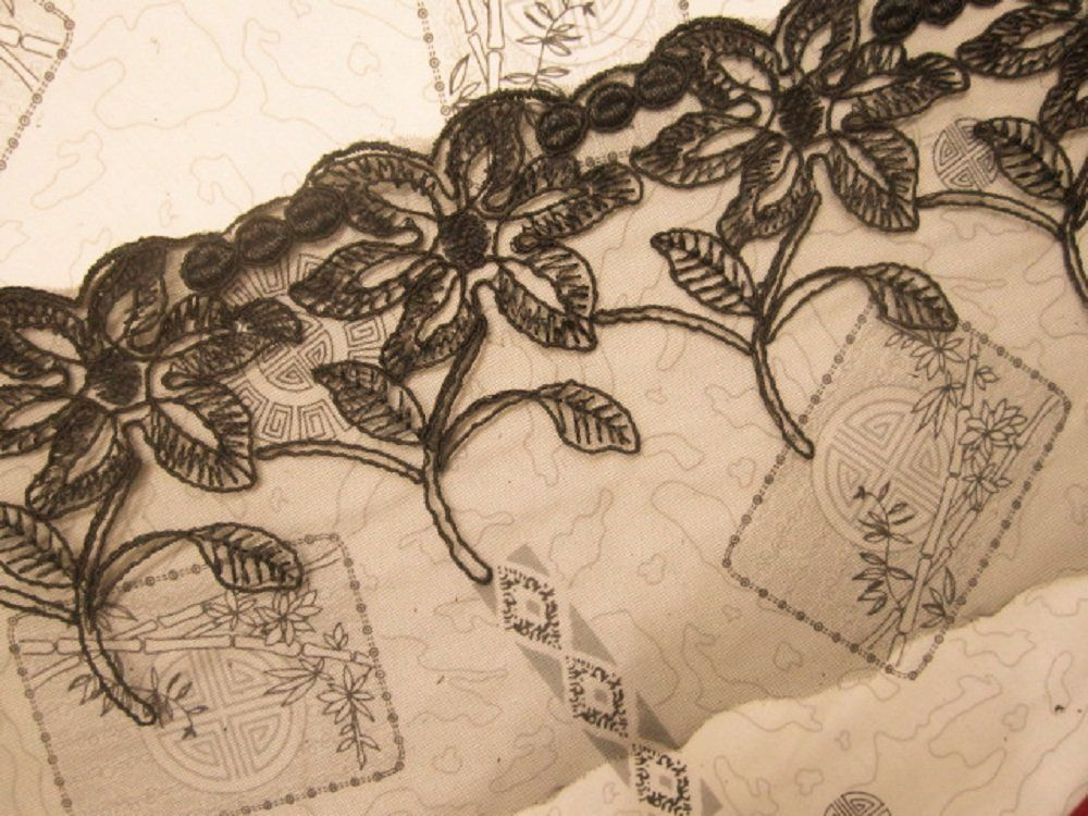10 yards 1-1/2' Wide Black Vintage Style Polyester Lace trim -- Check out this great product.