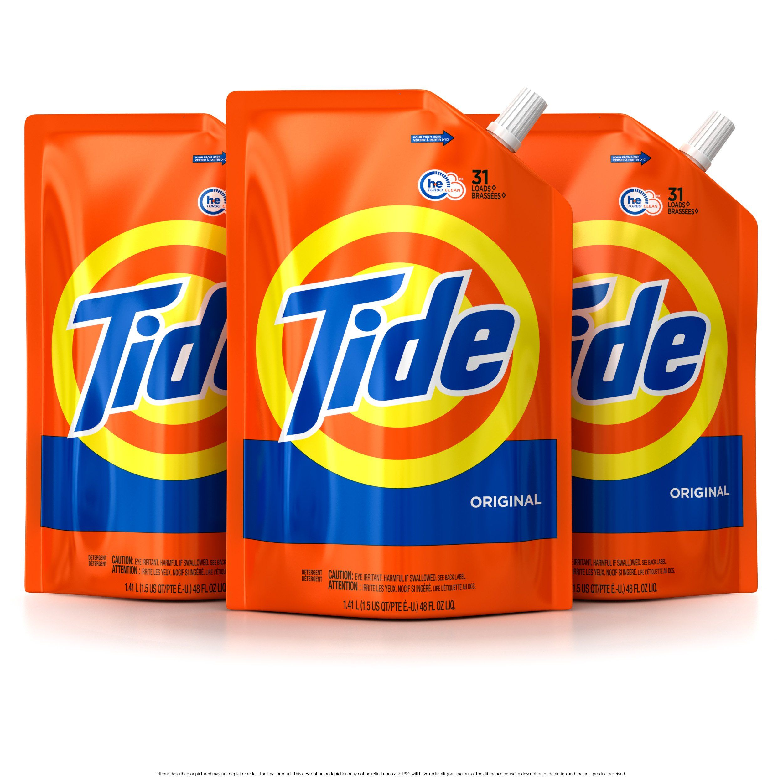 Tide Liquid Laundry Detergent Smart Pouch Original Scent He Turbo