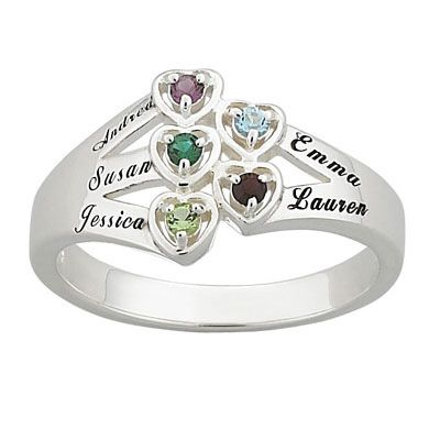 Zales Mothers Birthstone and Diamond Accent Flower Ring (2-6 Stones and Names) ZfjZXjf