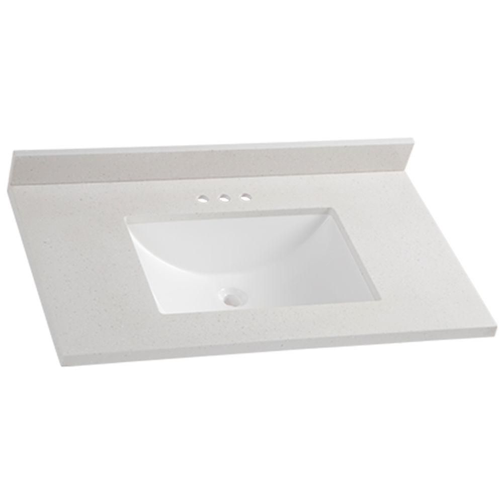Solid Surface Vanity Top In Titanium With White Basin