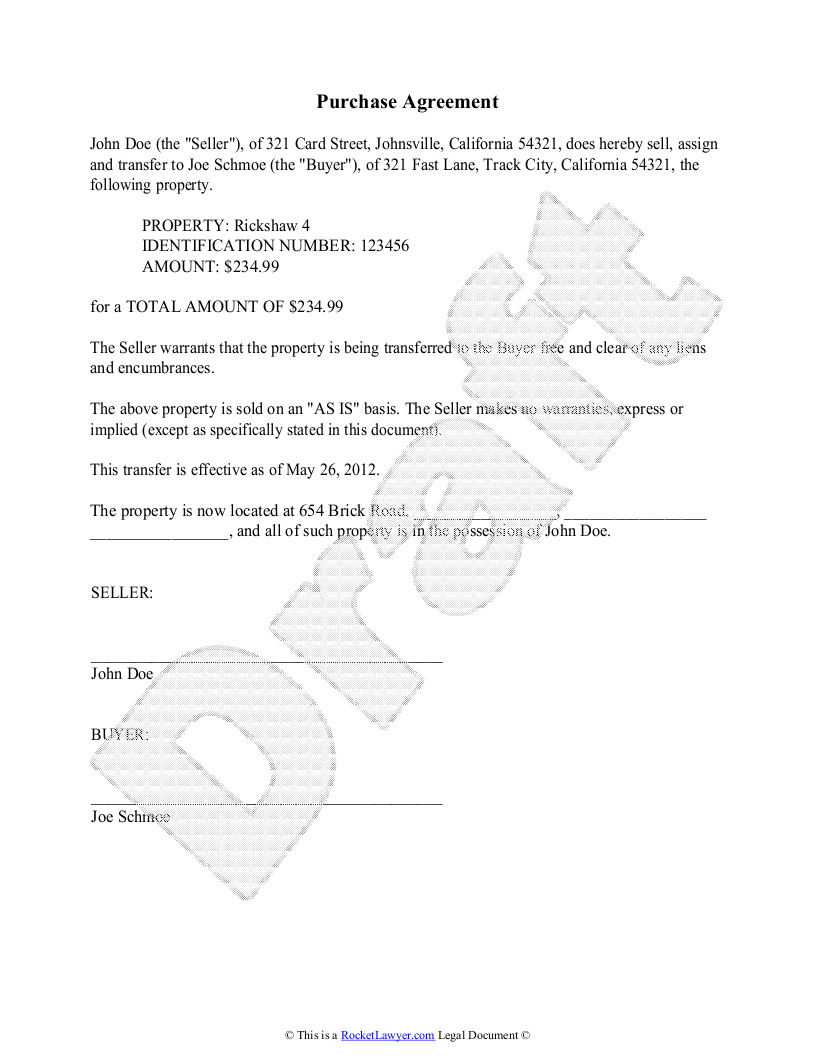 purchase agreement template free purchase agreement simple purchase agreement
