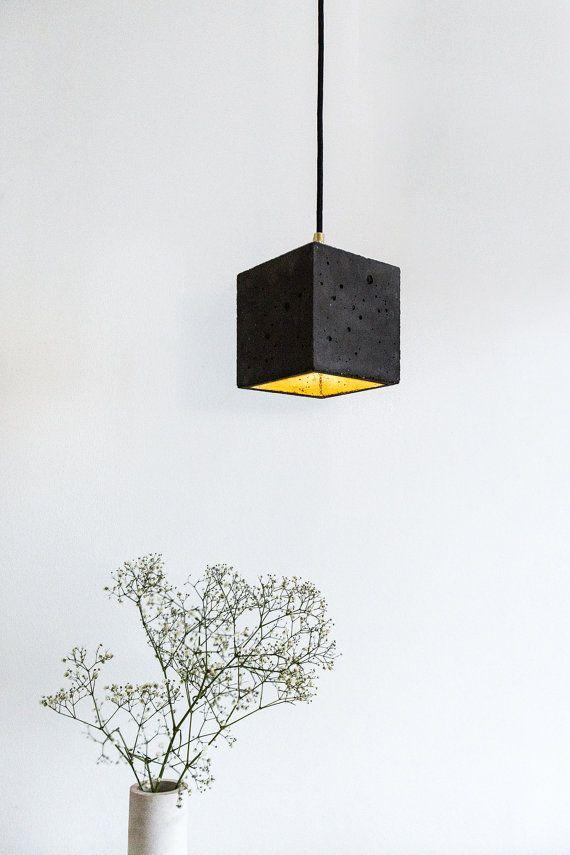 Concrete Hanging Lamp [B1] Dark Gold Lamp Minimalist Square Rare Designer  Lamp