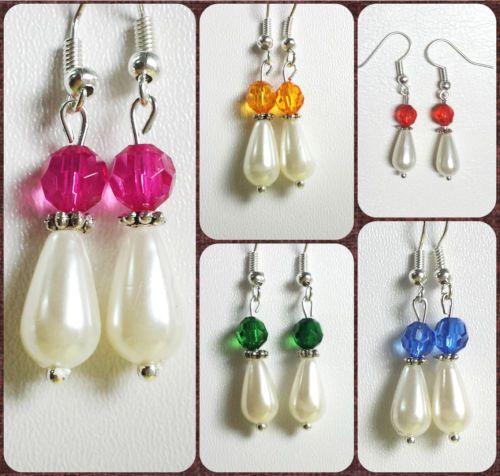 Pendientes-con-cristal-de-color-y-perla-acrilica-Hecho-a-mano