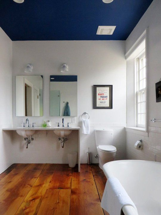 Dip A Toe Into Bold Color Painted Ceilings In The Bathroom
