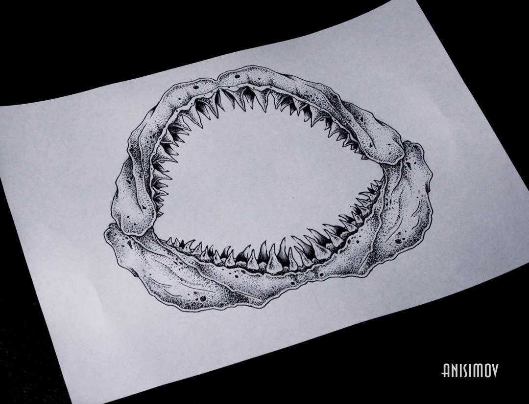Instagram Jaw Tattoos: Shark Jaw Attack #tattoo #art #linework #dotwork #blackart