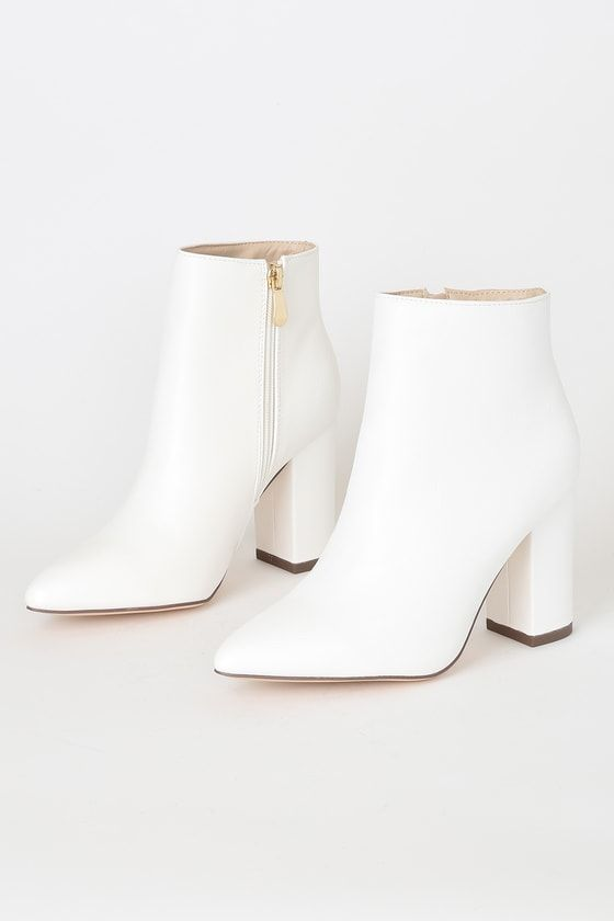 Ottava White High Heel Booties – Mod and Retro Clothing