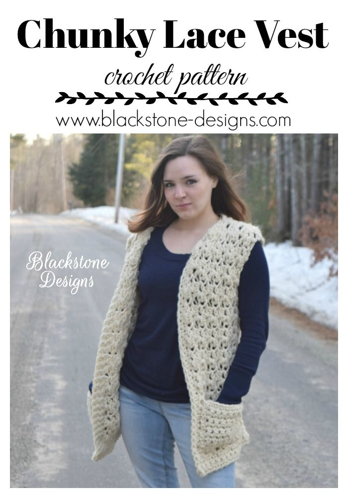 Chunky Lace Vest Adult Pdf Pattern Only Winter Fall Spring