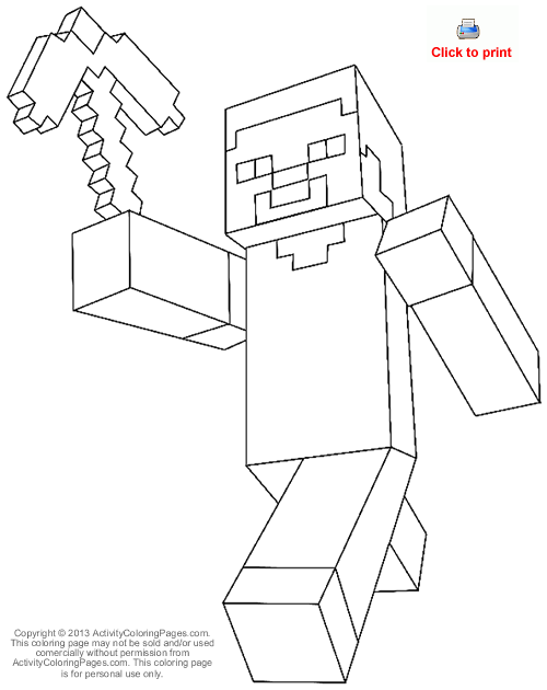 minecraft steve coloring pages for kids boys and girls - Minecraft Printable Coloring Pages