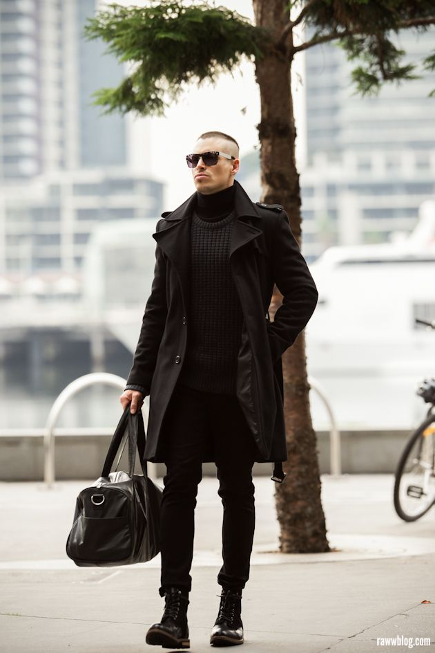 Pin On Black Only Men, All Black Trench Coat Outfit