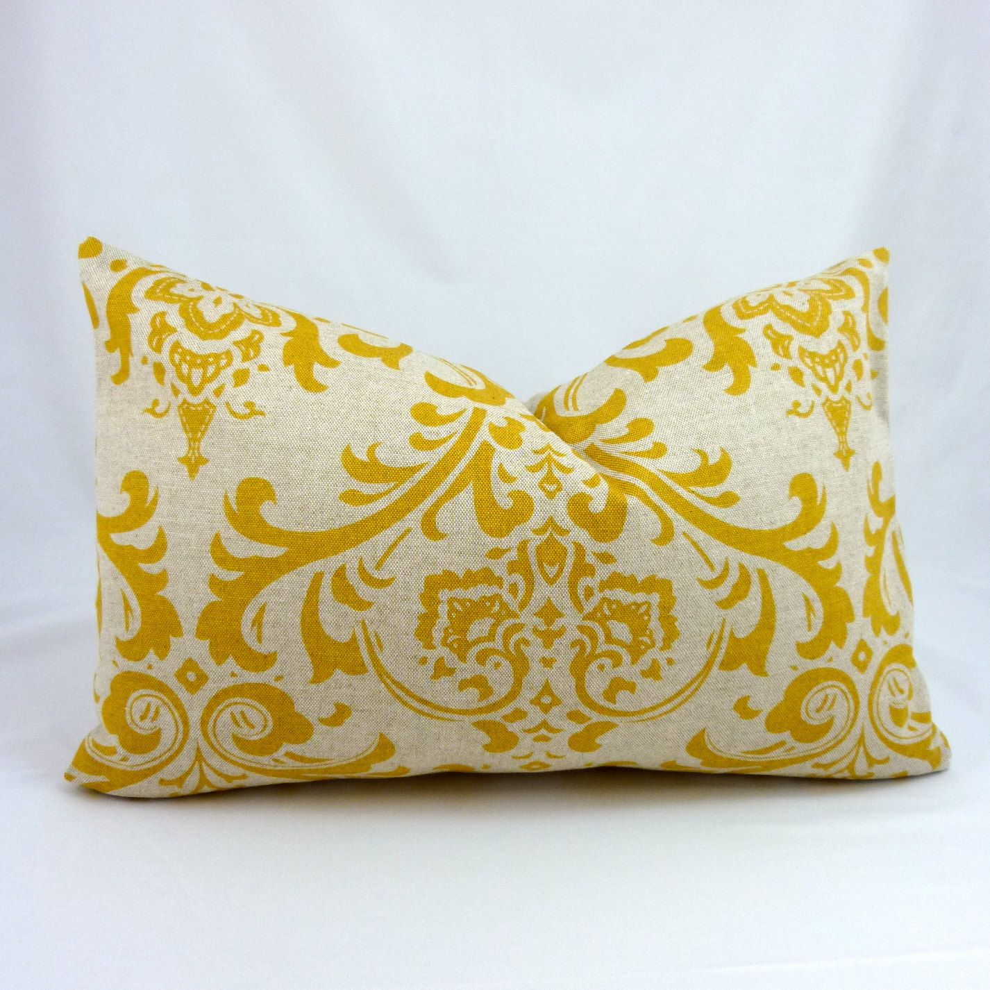 Designer Lumbar Pillow Cover in Traditions Corn Yellow - 15x15 ...