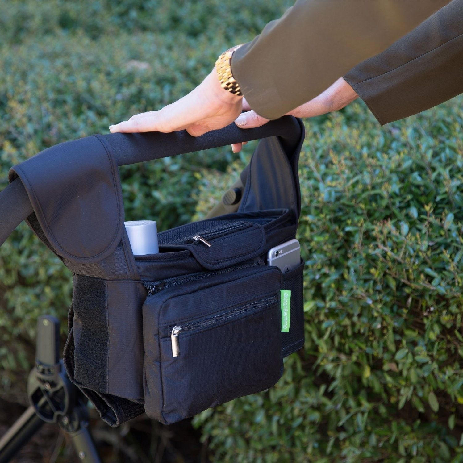 A stroller organizer that would make a perfect baby