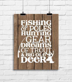 Fishing Hunting Baby Nursery Decor Deer Antlers Art Print