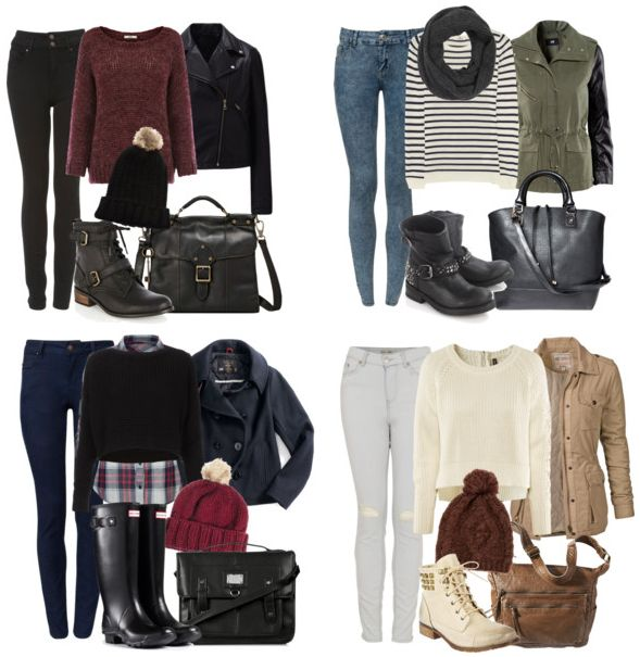 Cute outfits for rainy days, my favorite is the bottom right hand