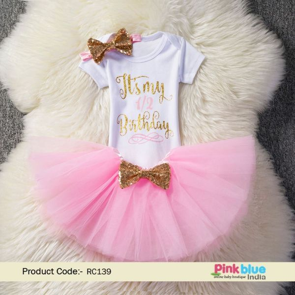 Black Pink 1//2 Half Birthday Tutu Shirt Outfit Custom Size Set 6 months old
