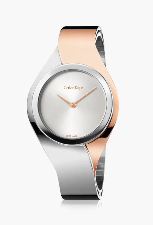 Chromatic steel and rose gold collide with elegant harmony in this Calvin Klein watch.
