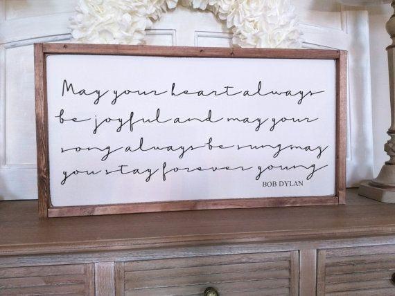 Forever Young Lyrics Wood Sign Bob Dylan Sign Parenthood Sign