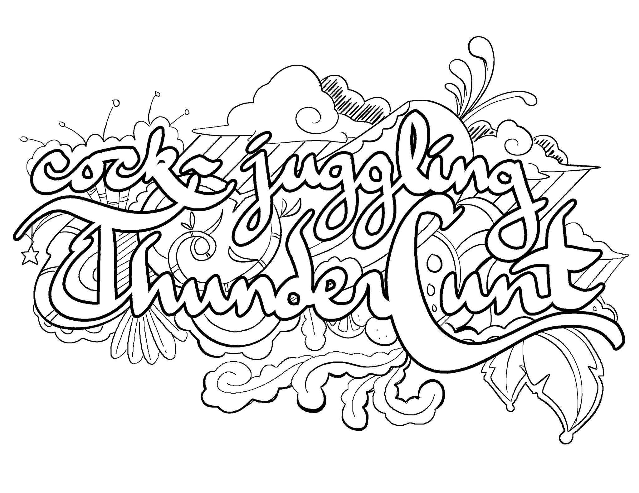 Cock Juggling Thunder Cunt Coloring Page by Colorful Language