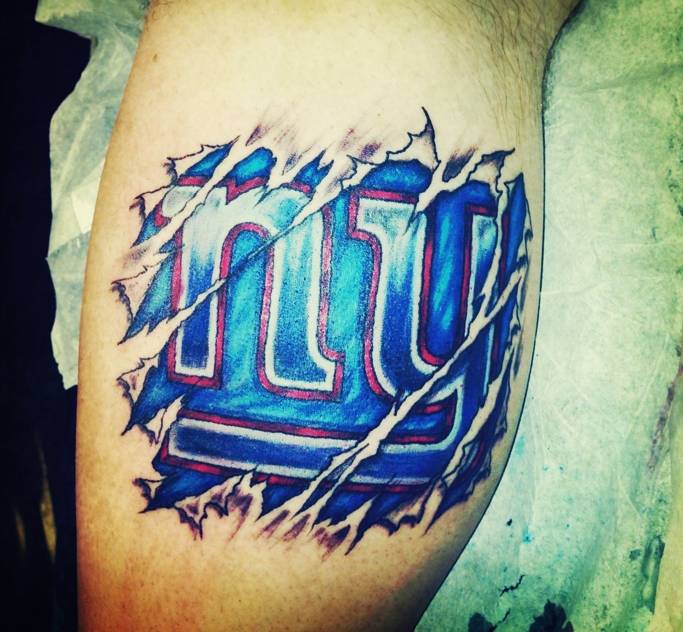 Giants Tattoo Bleed Blue Body Art New York Giants Logo