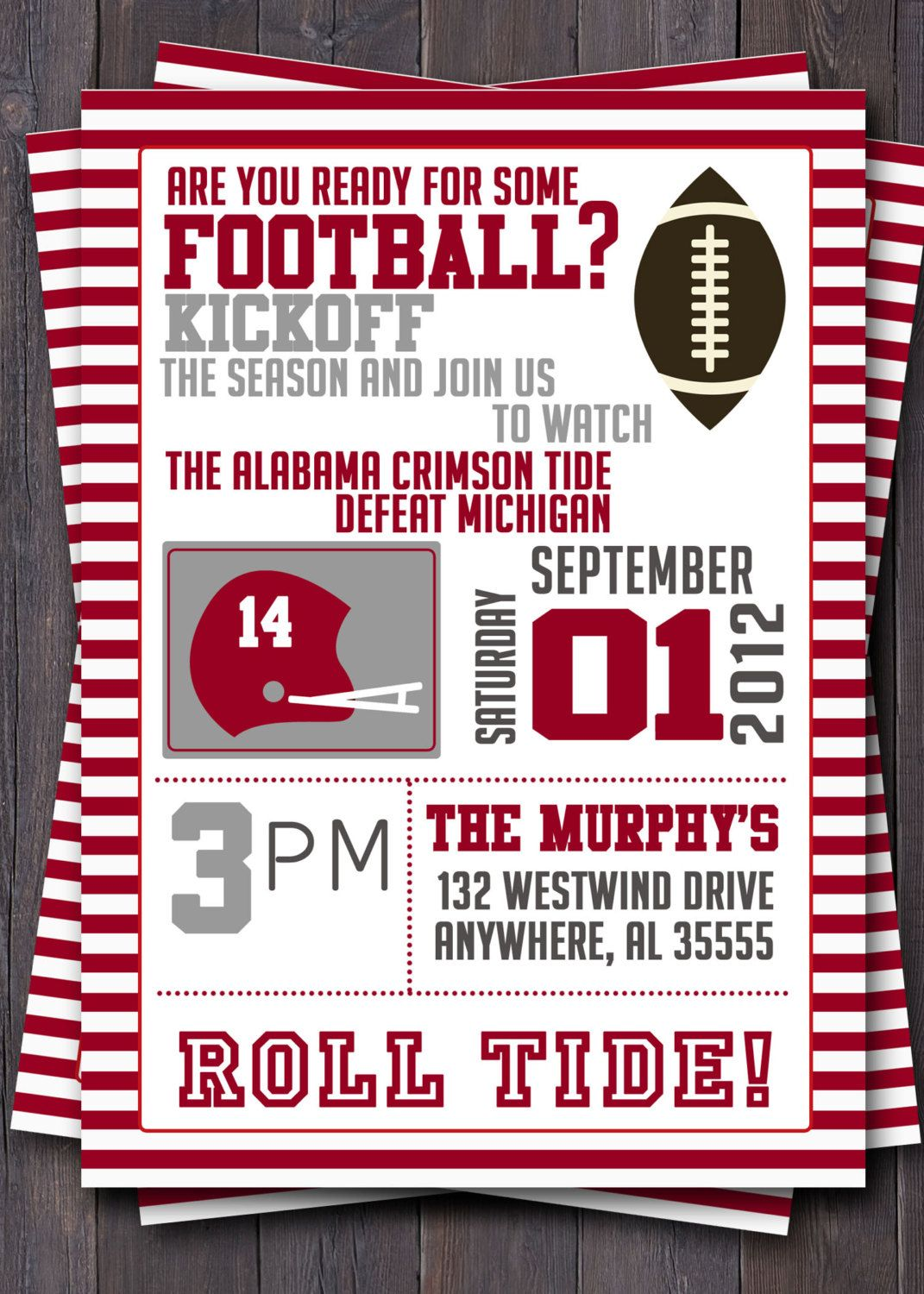 Football or Tailgate Party Invitation or Invite. $12.00, via Etsy ...