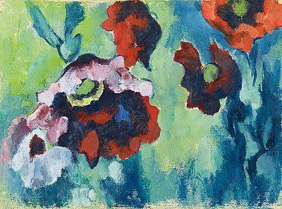 Heinrich Nauen, Roter und blaßvioletter Mohn vor blaugrünem Grund