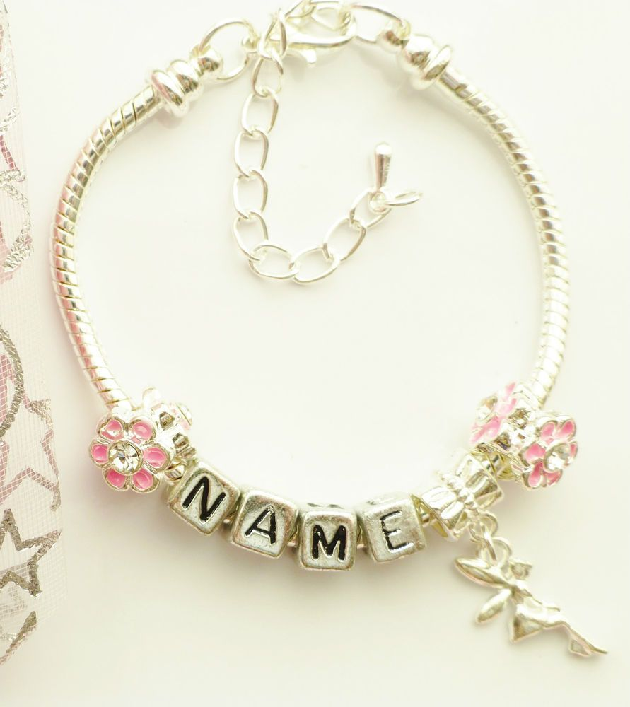 Tinkerbell flower any name charm bracelet pink or purpal childrens