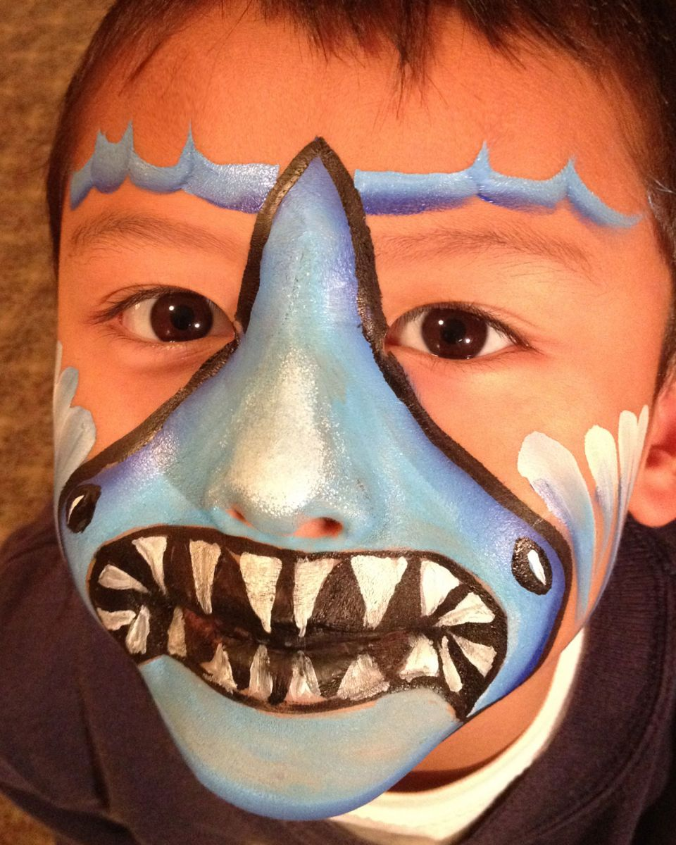 Shark Face Painting I D Delete The Wave Line On Top Or Replace It With Blended Sunset Colors