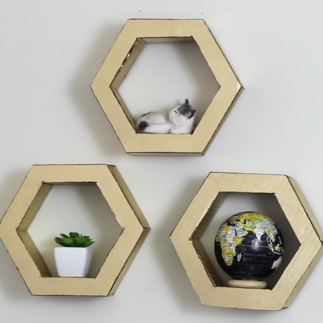Diy Hexagon Shelves Made From Cardboard Handmade Wall Art Shelf Home Decor Craft Ideas Diy Honeycomb Hexagon Diy Diy Cardboard