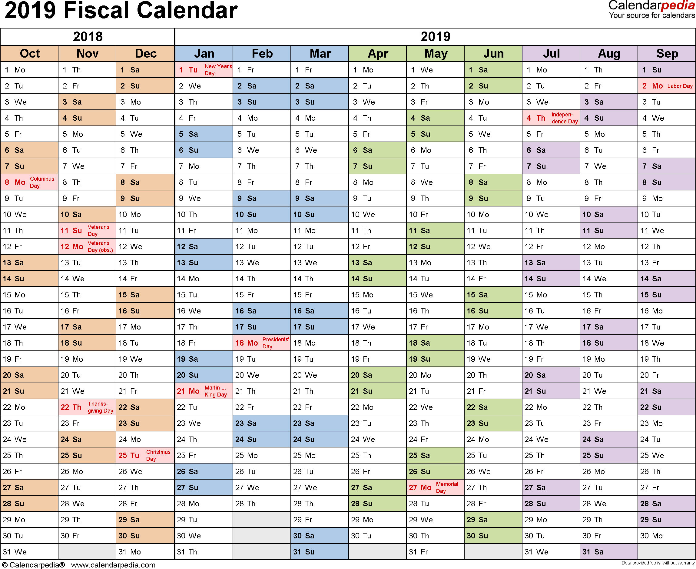 Fiscal Year 2019 Calendar Printable In 2020 Excel Calendar Fiscal Calendar Calendar Printables