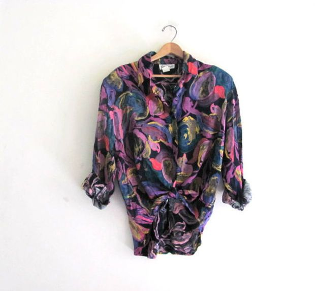 vintage 80s purple and black floral shirt. button up rayon blouse. oversized revival top. / size L