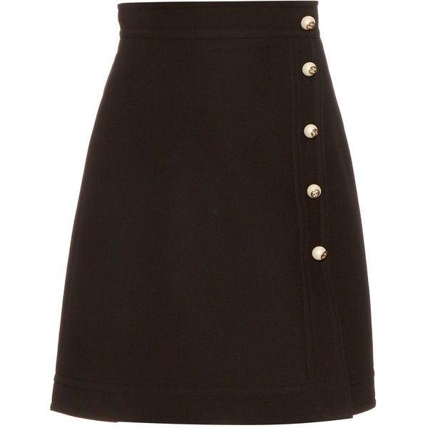 Gucci A-line wool and silk-blend crepe mini skirt (€645) ❤ liked on Polyvore featuring skirts, mini skirts, gucci, bottoms, wool mini skirt, short mini skirts, woolen skirt, short brown skirt and mini skirt
