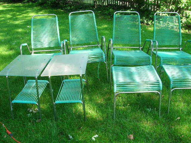 MID CENTURY PATIO FURNITURE SET SURF LINE BROWN JORDAN ERA