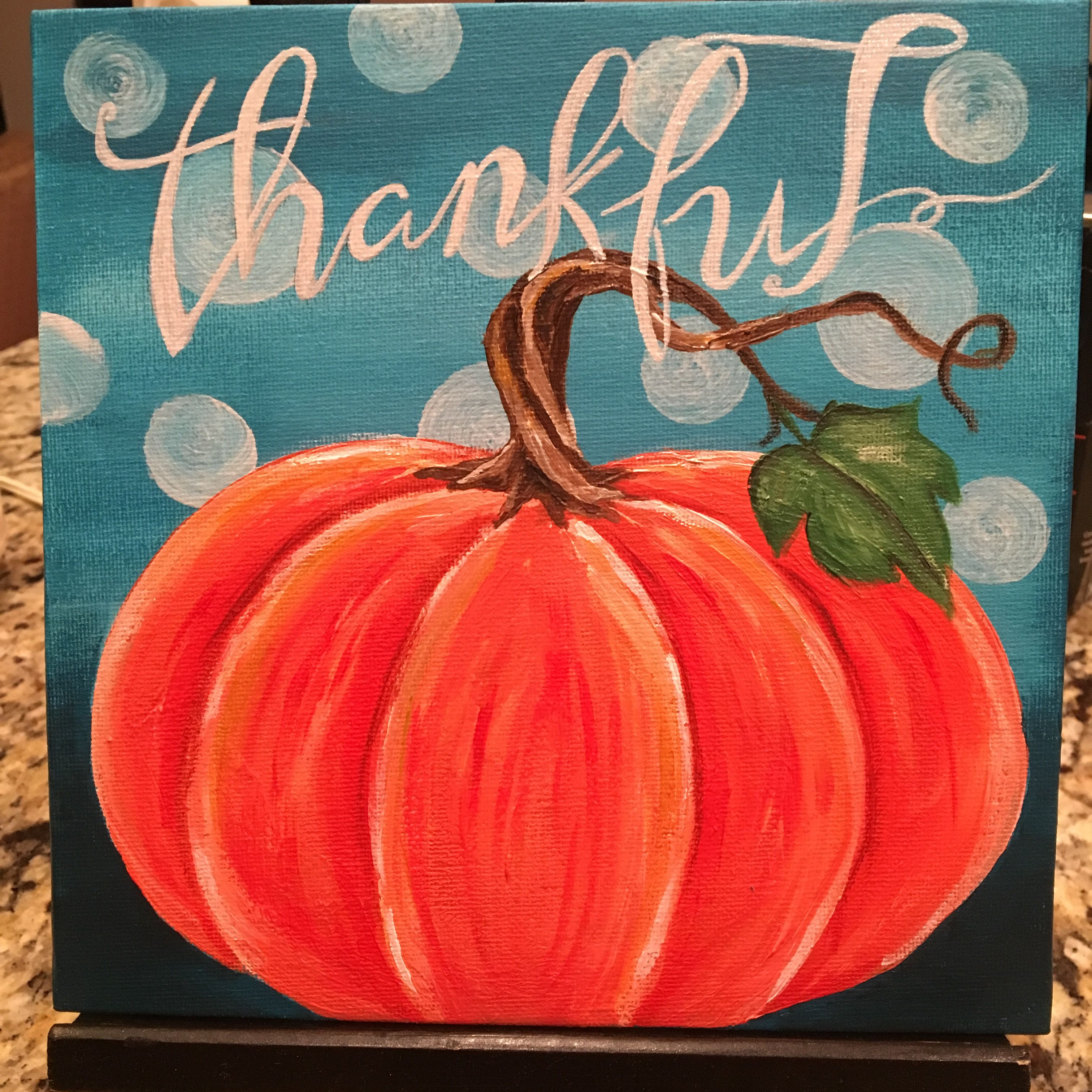 Fall Ladies Night Painting Sample Acrylic Paint On 8X8 Canvas