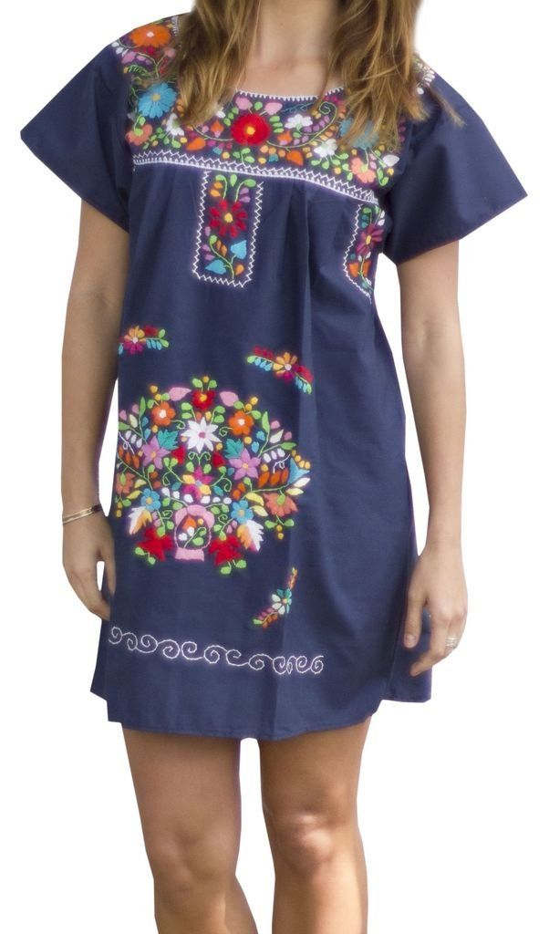 ed4f8ad800541 Liliana Cruz Embroidered Mexican Peasant Mini Dress at Amazon Women s  Clothing store  Mexican Dresses For Women