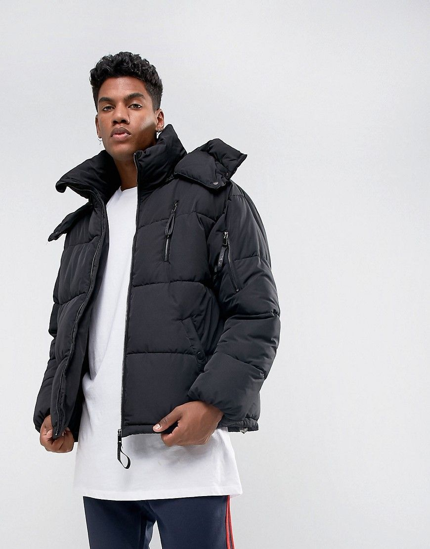 Sixth June Puffer Jacket In Black Black Stylish Jackets Jackets Quilted Jacket Men [ 1110 x 870 Pixel ]