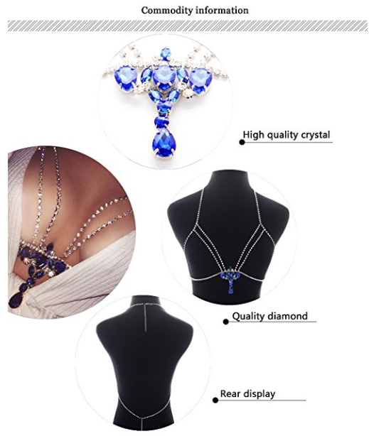 JeVenis/Luxury/Harness/Bikini/Body Chain Rhinestone/Bralette Chains/Belly Chain Necklace
