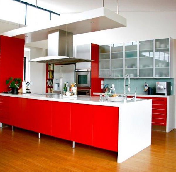 Red Island With White Waterfall Countertop, Maybe Quartz