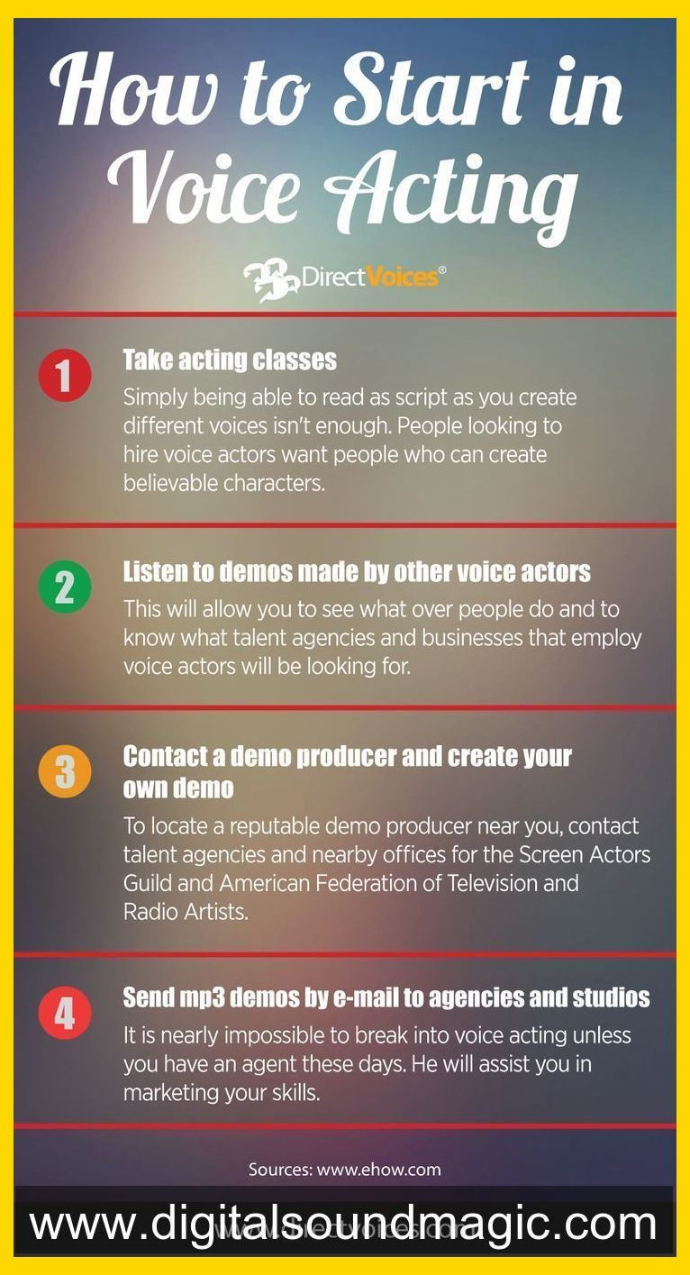 How To Start In Voice Acting Voiceover Infographic Voice Voice Acting Training Voiceov The Voice Voice Acting Acting Techniques